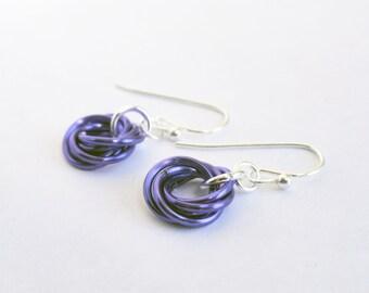Aluminum chainmail - Love knot earrings - eternity earrings - lightweight earrings - choose color - chainmaille earrings - chainmail knots