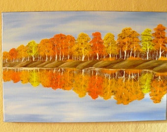 Oil painting landscape-after Bob Ross-landscape painting picture Canvas water Reflections