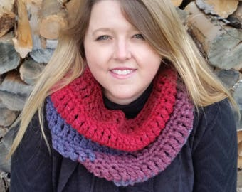 Wool Blend Crochet Cowl in Red, Blue and Burgundy