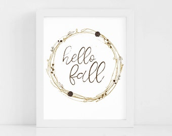 Hello Fall Printable, Hello Fall Print, Hello Fall Wall Art, Hello Fall Wreath Print, Fall Prints, Fall Printables, Fall Wall Art