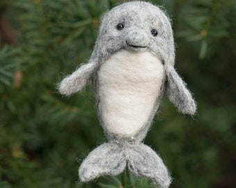 Needle Felted Dolphin Ornament