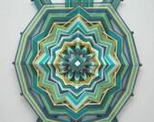 Turtle Mandala, 24 inch by 18 inches, 12-sided yarn mandala, by custom order