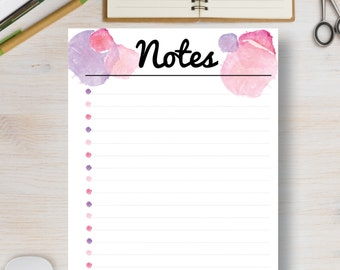 NOTES A5 Insert Printable Planner Insert - Pink Watercolor Instant Planner - A4, A5, US Letter & Half Letter Sizes.  Planner Inserts. #562