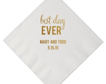 Best Day Ever Personalized Wedding Napkins