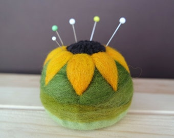 Wool Pin Cushion - Flower Pincushion - Needle Felted Pincushion - Magnetic Pin Cushion - Gift For Quilter - Modern Quilter - Made to Order