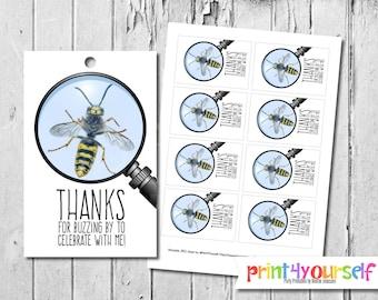 Bugs favor tags - Bee favor tags - Bug Birthday - Printable Favor Tags - birthday favor tags - gift tags - thank you tags - birthday
