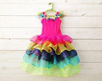 Rainbow Tutu, Ribbon Hem, Unicorn Dress, Fairy Dress, Full Skirt, Birthday Dress, Flower Girl, Wedding, Flower Girl Dress, Rainbow Costume