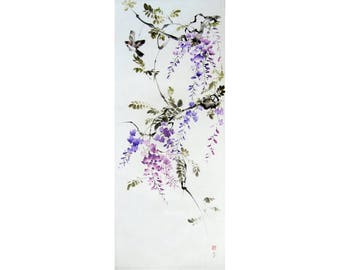 Sumi-e painting Ink Painting Japanese Hand made Watercolor Wisteria and sparrow #3 Asian art  Suibokuga flowers and birds Large art