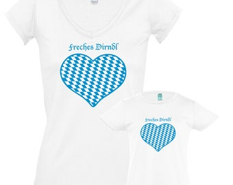 """T-Shirts """"Jaunty Dirndl"""" for mother and daughter, set price!"""