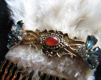 Gold hair comb   vintage headpiece   feather fascinator   bride   blue   tudor