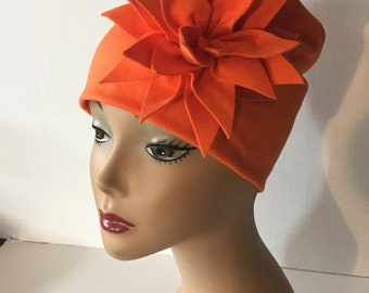 Womens Summer Knit Orange Flower Hat for Special Occasion or Gift