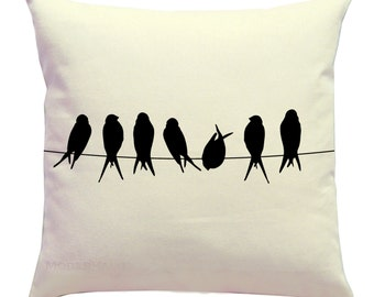 Throw Pillow Cover- Birds on a Wire Silhouette Pillow- Zippered Cushion Cover- Nature Accent Pillow- Choose Color- Bird Pillow Cover