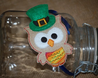 St. Patrick's Owl with Hat Embroidered Burlap Headband Slider