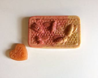 Sulfate Free Goats Milk and Crystal Soaps // Bee Shaped Sulfate Free Soaps// Sweet Orange Sulfate Free Soap Set