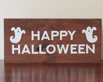 Happy Halloween sign rustic modern home décor wood sign