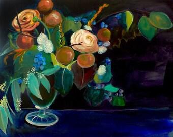 Acrylic Painting - Floral Still Life - Dutch Art - Whole - 8x10 Print - Flower arrangement dark blue