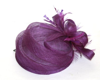 Purple Hat Fascinator/ Derby Hat with feathers and flower