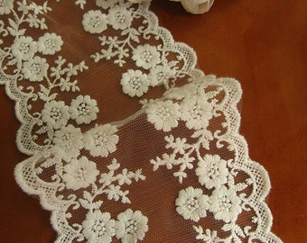 lace trim, white embroidered lace fabric, tulle lace trim, gauze lace, vintage scalloped lace, cotton lace, one yard