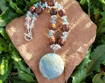 Dragon's Vein Agate Necklace - Dragons Vein x Turquoise