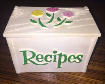 Vintage faux wooden recipe box with cute floral design