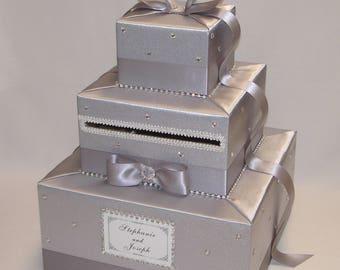 Silver Wedding Card Box -Rhinestone accents