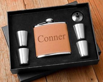 Personalized Hide Stitch Flask & Metal Shot Glass Gift Box Set