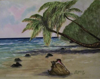 Tropical Beach, 16x20 Original Watercolor Painting,One of a Kind,Not a Print