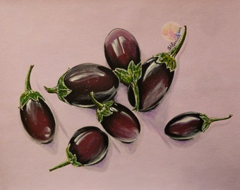 """Eggplant painting , eggplant still life, 11""""x14"""" original painting, Acrylic on watercolor paper, dining room decor, kitchen wall art"""