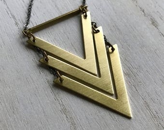 Chevron Necklace, Arrow Necklace, Long Chevron Necklace, Gold Chevron Necklace, Geometric Pendant, V Necklace, V Necklace Gold, Christmas