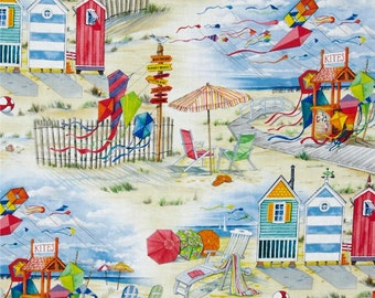 BEACH SCENE Fabric,  Yardage Fabric, nautical scene, kites, beach houses,  by the yard, red, blue, yellow white sand,  cotton