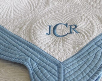 Personalized Heirloom Quilt - White with Blue Trim - Custom Monogrammed