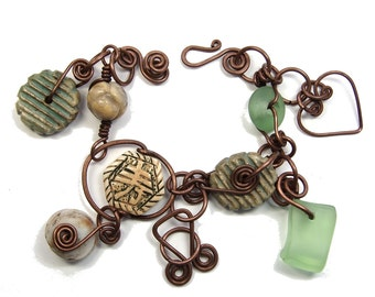 Handmade Bracelet, One of a Kind, Heavy Copper Wire Work, Ceramic Stoneware Clay, Beach Glass & Semi-Precious Stones, Hand Formed Closure