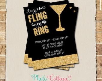 Bachelorette Birthday Invitation, Gold Glitter Invitation, Margarita Invitations, Bachelorette Party, Black & Gold Invitations, BAC101