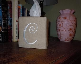 "Custom Made - Monogrammed ""C""  Essex Natural Linen Tissue Box Cover -  Made To Order"