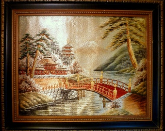 Vintage JAPANESE SILK EMBROIDERED Thread Framed Needlework Mt. Fuji Scene Japan