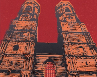 Surrender to Munich, cathedral, Bavaria: handmade linoprint, multi coloured, numbered and signed