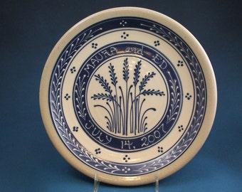 Ceramic Personalized Blue Wheat on White Slip - Stoneware Wedding Plate - Stoneware Pottery