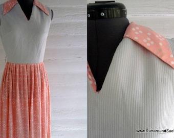 Vintage Dress - 1960s BUBBLEGUM Pink and Gray Polka Dot Dress