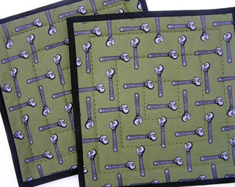 Set of Two Hand Quilted BE A MAN Hot Pads in Wrenches