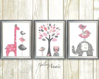 Baby Girl Nursery Girl Nursery Decor Kids Wall Art giraffe Elephant Tree Birds Owl Pink and Gray Set of three prints