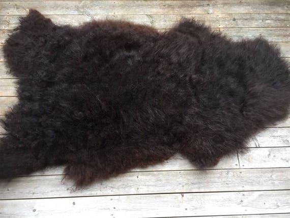 Long haired sheep skin wool pelt soft and large sheepskin rug. Black 17073