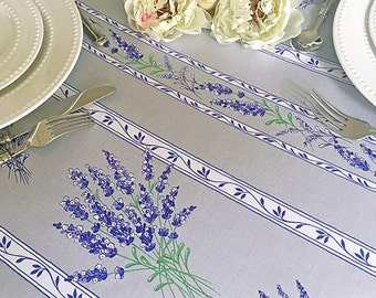 Round Tablecloth 42 - 63 inch French Easycare Laminated Coated Lavender in Silver Grey -or custom made your size - Umbrella hole available