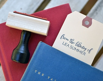 Bookplate Rubber Stamp With Wood Handle - Customized - Personalized