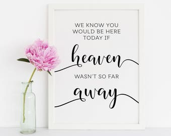 We Know You Would Be Here Today If Heaven Wasn't So Far Away Sign, Wedding Signs, Wedding Printables, Loving Memory Sign, Memory Table Sign