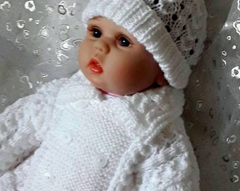 Hand knitted  Baby Jacket & Hat Set