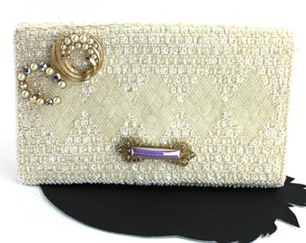 Pearlized Alabaster White Sequin & Beaded Vintage Clutch made in Hong Kong