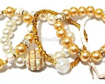 Gold and White Beaded Bracelet Set, Stretchy, Stackable, Charm Bracelet, Women Bracelet, Custom Handmade Beaded Jewelry