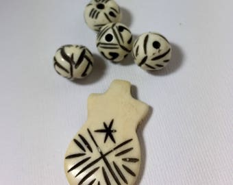 Ivory Bone and Black Beads and Carved Pendant Set for Necklace