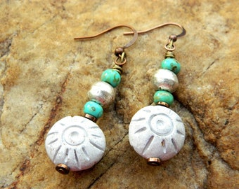 Boho Clay Bead Dangling Earrings