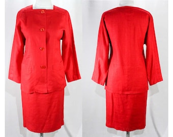 Size 6 Red Suit - Designer Lanvin 1980s Tunic Jacket & Skirt - Beautiful Tailored Linen - 80s Minimalist - Paris Label - Waist 26 - 48370